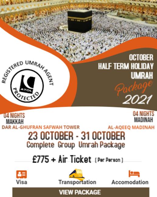 Group October Umrah Package 2021